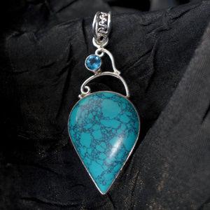 Turqouise & Aquamarine teardrop Pendant in Silver